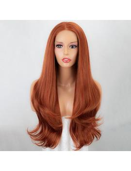 Long Lace Front Wig Auburn Copper Red Synthetic Wig 24'' by Etsy