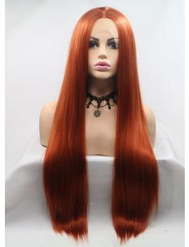 Cute Ladies Wig 24 Inch Copper Red Wig, Long Straight Synthetic Copper Red Lace Front Wig, Costume Cosplay Wigs For Women, Heat Safe Wig by Etsy