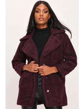 Purple Oversized Borg Coat by I Saw It First