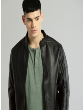 Men Black Solid Leather Jacket by Roadster