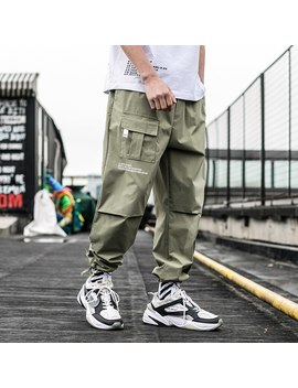 2019 New Summer Men Streetwear Ribbons Casual Pants Slim Mens Joggers Pants Side Pockets Cotton Man Trousers Abz395 by Ali Express.Com