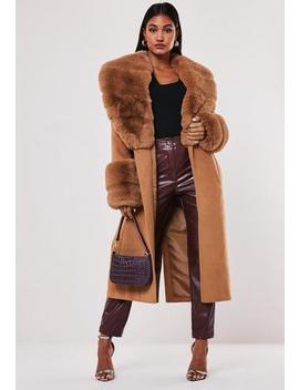 Tall Tan Faux Fur Collar Cuff Coat by Missguided
