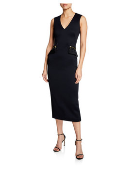 Sleeveless V Neck Zip Pocket Midi Dress by Brandon Maxwell