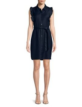 Abba Ruffle Button Front Dress by T Tahari