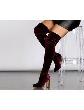 A Touch Of Gold Velvet Thigh High Boots by Windsor