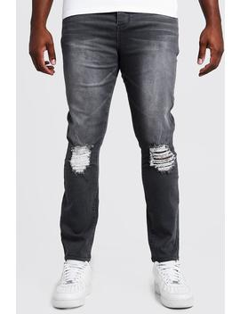 Big & Tall Skinny Fit Jeans With Ripped Knee by Boohoo