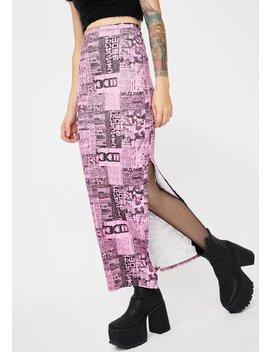 Newspaper Print Midi Skirt by New Girl Order