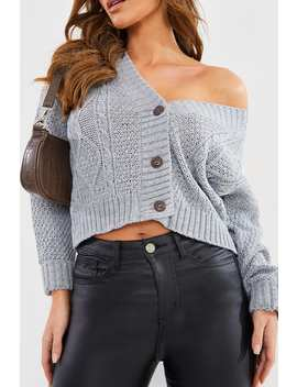 Grey Boyfriend Cable Crop Cardigan by In The Style