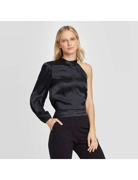 Women's Long Sleeve Collared Blouse   Who What Wear™ Black by Who What Wear