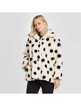 Women's Polka Dot Long Sleeve Swing Faux Fur Jacket   Who What Wear™ White/Black by Who What Wear