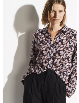 Micro Painted Floral Silk Blouse by Vince