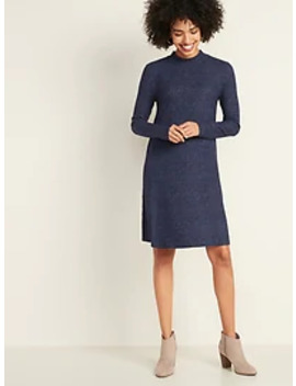 Brushed Knit Mock Neck Swing Dress For Women by Old Navy
