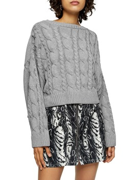 Crop Batwing Sleeve Cable Sweater by Topshop