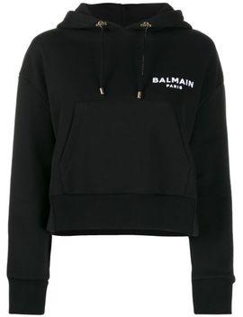 Logo Cropped Hoodie by Balmain