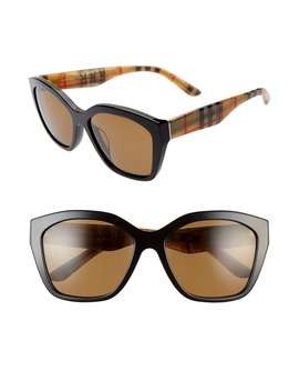 57mm Vintage Check Polarized Sunglasses by Burberry