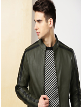 Men Olive Green Bomber Jacket by Invictus