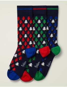 Festive Socks   Tree Geo Pack by Boden