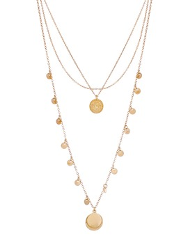 Layered Circle Pendant Necklace by Panacea