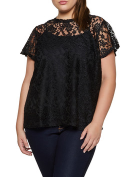 Plus Size Lace Short Sleeve Top by Rainbow