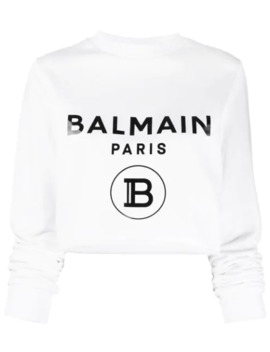 Logo Cropped Sweatshirt by Balmain