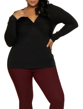 Plus Size Twist Front Long Sleeve Top by Rainbow