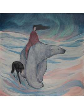 Limited Edition Giclée Print Of Original Lucy Campbell Art. Lucy Campbell Print. Polar Bear, Black Wolf, Woman. Aurora. by Etsy