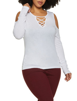 Plus Size Caged Cold Shoulder Long Sleeve Top by Rainbow
