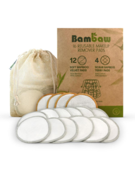 Pack Of 16 Natural Reusable Makeup Remover Pads Pack Of 16 Natural Reusable Makeup Remover Pads by Bambaw