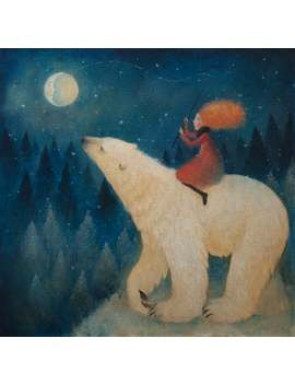 "Giclée Print Of Original Lucy Campbell Painting. Limited Edition Print. Polar Bear With Girl In Red. ""Catch Me The Moon"" by Etsy"