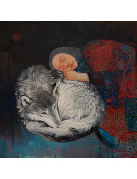 "Lucy Campbell Limited Edition Giclée Print ""Patchwork In The Silence"", Wolf, Patchwork Coat, Sleeping Child, Protection by Etsy"