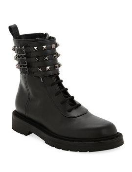 Tri Band Rockstud Combat Boots by Valentino Garavani