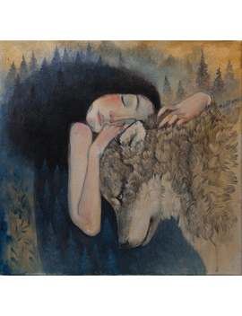 "Giclée Print Of Original Lucy Campbell Painting. Limited Edition Print. Woman Hugging Wolf. ""Tenderness Of Wolves"" Wolf Print by Etsy"