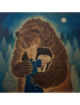 "Lucy Campbell Cards, 5 Cards, One Design, Bearhug, Dark Haired Girl With Bear. ""Tuesday's Bear"" Design Cards by Etsy"