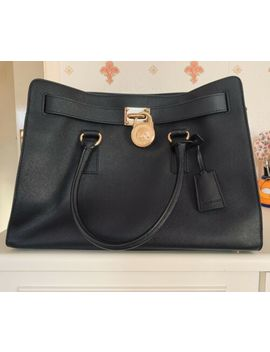 Michael Kors Medium Leather Shoulder Handbag Tote Bag Hamilton Satchel (Black) by Ebay Seller