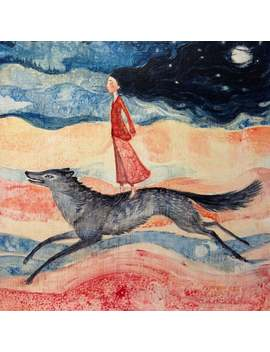 "Lucy Campbell Card ""The Hungry Soul"". Greeting Card, Woman Running With Wolf. by Etsy"