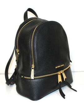 Christmas 🎁 Michael Kors 100% Rhea Backpack Bag Black Leather & Goldtone New by Ebay Seller