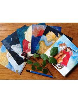 Chisrtmas, Winter Solstice, Greetings Cards Seasonal, Lucy Campbell Cards. Polar Bear, Wolf, Fox, Tiger, Lion. by Etsy