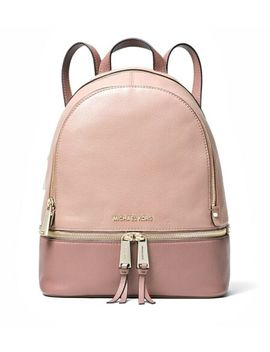 Michael Kors Backpack Bag Rhea Md Backpack Leather Fawn Dusty Rose New by Ebay Seller