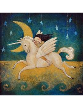 "Lucy Campbell Greetings Card ""Golden Moon"", Original Artwork, Unicorn, Winged Horse, Moon, Stars, Girl by Etsy"