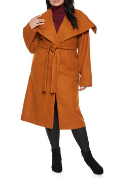 Plus Size Belted Wrap Coat by Rainbow