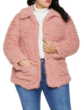 Plus Size Sherpa Collared Jacket by Rainbow