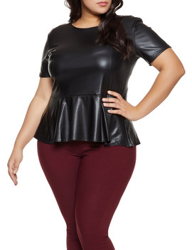 Plus Size Faux Leather Peplum Top by Rainbow