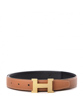 Hermes Swift Epsom 24mm Guilloche H Belt 75 Black Gold by Hermes