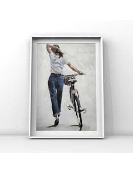 Frau Fahrrad Malerei Kunst Druck Frau Zu Fuß Fahrrad   Leinwand Wand Kunstdruck   Geschenk Für Frau Radfahrer Fahrrad Liebhaber Geschenk Radfahren Geschenk by Etsy