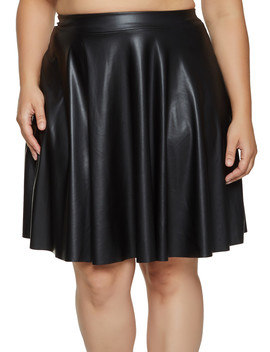 Plus Size Solid Faux Leather Skater Skirt by Rainbow