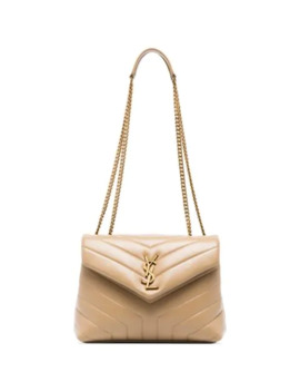 Beige Loulou Logo Leather Shoulder Bag by Saint Laurent