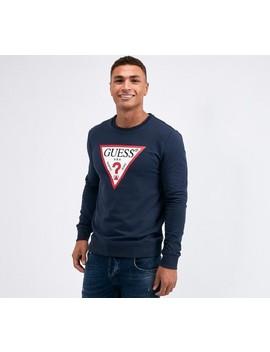 Crew Neck Fleece Sweatshirt | Blue Navy by Guess