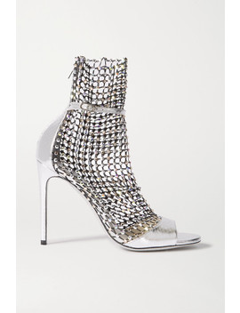 Galaxia Crystal Embellished Mesh And Metallic Watersnake Sandals by René Caovilla