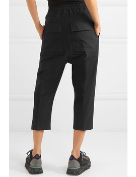 Cropped Cotton Trimmed Wool Blend Track Pants by Rick Owens