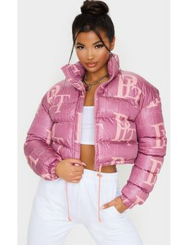 Prettylittlething Pink Crop Puffer Jacket by Prettylittlething